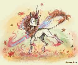 Size: 2643x2215 | Tagged: safe, artist:annitart, autumn blaze, kirin, nirik, digital painting, fire, frown, leaves, signature, solo, this will end in death, this will end in pain, this will end in pain and/or death, transformation