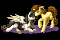 Size: 750x500 | Tagged: safe, artist:shinepawpony, oc, oc only, oc:ember tempest, oc:lila hope, pegasus, pony, unicorn, female, lying down, male, pregnant