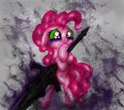 Size: 3000x2673 | Tagged: artist:rurihal, corrupted, crossover, dark souls, pinkie pie, safe, sword, weapon
