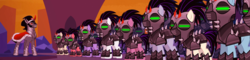 Size: 4492x1080 | Tagged: safe, composite screencap, edit, edited screencap, screencap, king sombra, crystal pony, pony, unicorn, the cutie re-mark, alternate timeline, armor, army, crystal war timeline, helmet, male, mind control, panorama, sombra empire, sombra soldier, stallion