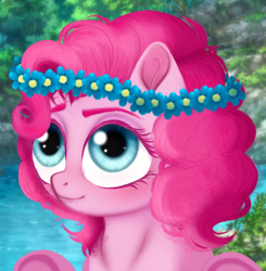 Size: 1196x1219 | Tagged: safe, artist:unoriginai, pinkie pie, earth pony, pony, blurry background, blushing, cute, female, flower, flower in hair, hooves up, looking up, semi-realistic, smiling, solo