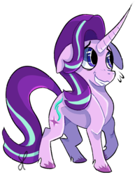 Size: 793x1028 | Tagged: artist:blaussi, curved horn, floppy ears, grin, horn, nervous, nervous grin, pony, safe, simple background, smiling, solo, starlight glimmer, transparent background, unicorn