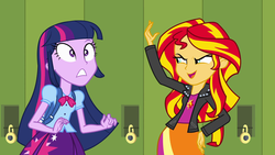 Size: 1920x1080 | Tagged: safe, screencap, sunset shimmer, twilight sparkle, alicorn, equestria girls, equestria girls (movie), backpack, clothes, female, jacket, leather, leather jacket, lockers, pleated skirt, skirt, twilight sparkle (alicorn)