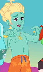 Size: 431x720 | Tagged: safe, screencap, drama letter, paisley, watermelody, zephyr breeze, equestria girls, equestria girls series, i'm on a yacht, spoiler:eqg series (season 2), ass, butt, clothes, cropped, male, offscreen character, partial nudity, photo, smiling, swimming trunks, swimsuit, topless, zephyr's necklace