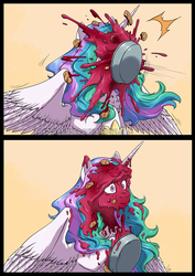 Size: 993x1401 | Tagged: 2 panel comic, alicorn, artist:hazurasinner, comic, female, food, mare, pie, pied, pie in the face, pony, princess celestia, safe, this will end in tears and/or a journey to the moon