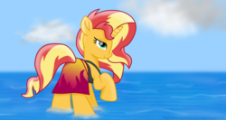 Size: 7340x3900 | Tagged: absurd res, artist:ejlightning007arts, beautiful, bunset shimmer, clothes, equestria girls outfit, raised hoof, safe, sarong, sunset shimmer, swimsuit, water