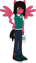 Size: 1229x2158 | Tagged: artist:lightningbolt, bag, cashier, clothes, derpibooru exclusive, equestria girls, hand on hip, jeans, lip piercing, male, mike fuentes, pants, pierce the veil, piercing, ponied up, pony ears, safe, shirt, shoes, solo, svg, .svg available, vector, wings