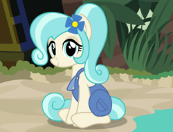 Size: 2548x1948 | Tagged: safe, artist:badumsquish, derpibooru exclusive, coco pommel, earth pony, pony, beach, clothes, coco bandicoot, cocobetes, cosplay, costume, coveralls, crash bandicoot, cute, female, flower, flower in hair, looking at you, namesake, pun, reference, show accurate, sitting, smiling, solo, tropical