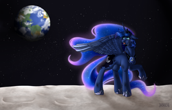 Size: 2340x1500 | Tagged: alicorn, artist:mlp-norica, earth, female, looking back, mare, moon, pony, princess luna, safe, solo
