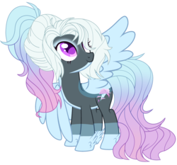 Size: 2921x2724 | Tagged: safe, artist:celestial-rue0w0, artist:lazuli, oc, oc only, oc:alluring storm, pegasus, pony, base used, blaze (coat marking), commission, eyeshadow, female, makeup, mare, multicolored hair, offspring, pale belly, parent:rainbow dash, parent:thunderlane, parents:thunderdash, ponytail, simple background, solo, transparent background