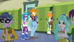 Size: 1920x1080 | Tagged: background human, backpack, canterlot high, clothes, dj pon-3, door, equestria girls, equestria girls (movie), female, glasses, indigo wreath, lockers, male, microchips, paisley, pants, safe, screencap, scribble dee, valhallen, vinyl scratch