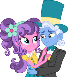Size: 3000x3387 | Tagged: safe, artist:cloudyglow, petunia petals, sunny skies, human, equestria girls, rainbow roadtrip, clothes, couple, cute, dress, equestria girls-ified, female, freckles, hat, high res, male, petalbetes, petuniasky, simple background, suit, sunnydorable, top hat, transparent background