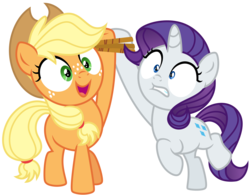 Size: 8184x6377 | Tagged: absurd res, applejack, artist:fixiee, female, filly, filly applejack, filly rarity, pony, rarity, rope, safe, simple background, spoiler:s09e12, the last crusade, transparent background, younger