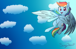 Size: 2408x1556 | Tagged: artist:songheartva, cloud, flying, pony, rainbow dash, safe, solo