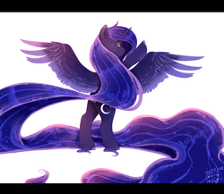Size: 2640x2289 | Tagged: alicorn, artist:wolfythewolf555, bipedal, colored hooves, ear fluff, ethereal fetlocks, ethereal mane, female, galaxy mane, impossibly long tail, looking at you, looking back, looking back at you, mare, pony, princess luna, profile, safe, simple background, solo, spread wings, starry mane, tail, white background, wings