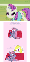 Size: 728x1468   Tagged: safe, artist:carnifex, screencap, asteria, surprise, oc, oc:velvet, pegasus, pony, unicorn, ask velvet, 2 4 6 greaaat, g1, g4, chinese, coffee mug, comparison, female, g1 to g4, generation leap, horn, horn ring, imminent disaster, inhibitor ring, magic, magic aura, magic suppression, mare, mug, telekinesis, this will end in tears