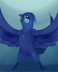Size: 1379x1705 | Tagged: safe, artist:dusthiel, princess luna, against glass, angry, atg 2019, birdified, cute, female, glass, lunabetes, newbie artist training grounds, solo, species swap