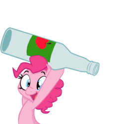 Size: 491x495 | Tagged: apple cider, armpits, artist:mlpcreativelab, artist:shoutingisfun, beverage, bottle, carrying, cider, edit, editor:luzion, female, mare, object, pinkie pie, pony, safe, simple background, smiling, solo, throwing, transparent background
