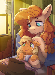 Size: 2200x3000 | Tagged: safe, artist:ardail, applejack, pear butter, earth pony, pony, applejack's hat, ardail is trying to murder us, bed, bittersweet, cowboy hat, crying, cute, daaaaaaaaaaaw, ear fluff, emotional, feels, female, filly, floppy ears, freckles, guitar, hat, high res, hnnng, hospital, hospital bed, indoors, iv bag, jackabetes, lidded eyes, mother and child, mother and daughter, open mouth, pearabetes, sad, sadorable, siblings, smiling, tearjerker, tears of joy, weapons-grade cute, younger