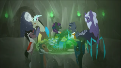 Size: 1136x640 | Tagged: artist:empire productions, bat pony, canterlot, cave, changeling, changeling queen, discord, drider, equestria, female, hologram, king sombra, lord tirek, magic, meeting, mlp conquest, monster pony, oc, oc:dr philter, oc:ilvaria, oc:nira verra, original species, queen chrysalis, safe, spiderpony, vampony