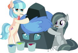 Size: 8942x6054   Tagged: safe, artist:cyanlightning, coco pommel, marble pie, ocellus, changeling, earth pony, pony, .svg available, absurd resolution, chisel, disguise, disguised changeling, ear fluff, eyes closed, female, holding, mare, mouth hold, paint, painting, rock, rockellus, simple background, standing, this will end in death, this will end in tears, this will end in tears and/or death, this will not end well, transparent background, trio, trio female, vector