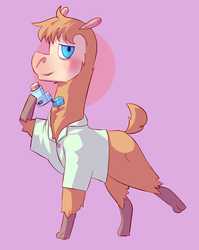 Size: 913x1147 | Tagged: alpaca, artist:zeninji, clothes, inhaler, oc, oc:lawrence, safe, shirt
