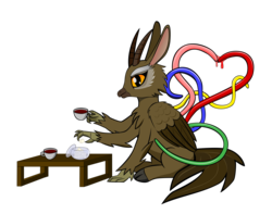 Size: 2700x2132 | Tagged: artist:octishmocti, chimera, countess of folas, duchess of fatyma, female, food, hippogriff, hippogriffied, marquisette of dispria, safe, scp, scp-2703-1, scp foundation, simple background, solo, species swap, sugarcube, tea, tentacles, transparent background, vector