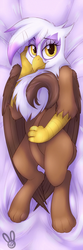 Size: 640x1920 | Tagged: artist:meggchan, bedroom eyes, body pillow, body pillow design, female, gilda, griffon, hug, looking at you, on back, safe, sexy, smiling, solo, tail between legs, tail hug