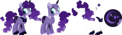 Size: 3694x1057 | Tagged: artist:sh3llysh00, bald, base used, female, magical lesbian spawn, mare, oc, oc:lunar amethyst, offspring, parent:pinkie pie, parent:princess luna, parents:lunapie, reference sheet, safe, simple background, solo, transparent background, unicorn