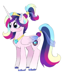 Size: 1296x1487 | Tagged: alicorn, artist:unoriginai, fusion, intersex, jewelry, oc, oc:radiance amore, pony, princess cadance, regalia, safe, scar, shining armor, unshorn fetlocks