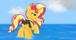 Size: 7340x3900 | Tagged: safe, alternate version, artist:ejlightning007arts, sunset shimmer, pony, unicorn, absurd resolution, beautiful, bunset shimmer, clothes, female, mare, raised hoof, swimsuit, water