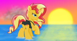 Size: 7340x3900 | Tagged: safe, alternate version, artist:ejlightning007arts, sunset shimmer, pony, unicorn, absurd resolution, beautiful, bunset shimmer, butt, clothes, female, mare, plot, pun, raised hoof, sunset, swimsuit, visual pun, water