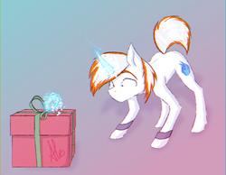 Size: 1304x1010   Tagged: safe, artist:al1-ce, derpibooru exclusive, oc, oc only, oc:neon flame, pony, unicorn, chromatic aberration, gift art, magic, present