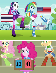 Size: 1272x1640 | Tagged: applejack, edit, edited screencap, eqg flag-tag meme, equestria girls, equestria girls (movie), fluttershy, football, ouch, pinkie pie, rainbow dash, safe, screencap, sports, thailand, twilight sparkle, united states, women's world cup, women's world cup 2019, world cup