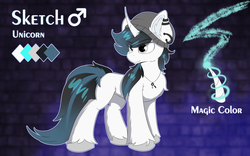 Size: 2000x1250 | Tagged: safe, artist:lunar froxy, oc, oc only, oc:sketch, pony, unicorn, beanie, cheek fluff, curved horn, ear fluff, ear piercing, eye clipping through hair, fluffy, hat, horn, jewelry, male, necklace, piercing, reference sheet, solo, stallion