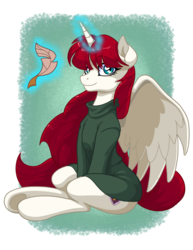 Size: 2550x3300 | Tagged: safe, artist:latecustomer, oc, oc only, oc:fausticorn, alicorn, pony, alicorn oc, clothes, cute, faustabetes, female, high res, lauren faust, levitation, looking at you, magic, mare, quill, sitting, smiling, solo, sweater, telekinesis, underhoof