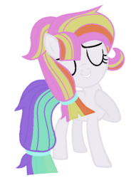 Size: 445x603 | Tagged: safe, artist:bluerosearrow, artist:celestial-rue0w0, oc, oc only, oc:fruity pastels, earth pony, pony, icey-verse, base used, commission, eyes closed, female, filly, grin, magical lesbian spawn, multicolored hair, offspring, parent:coconut cream, parent:toola roola, parents:toolanut, raised hoof, simple background, smiling, solo, transparent background