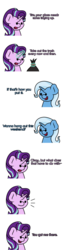 Size: 1920x7560 | Tagged: artist:ljdamz1119, comic, dialogue, female, gotcha, lesbian, levitation, magic, misunderstanding, pony, safe, shipping, simple background, starlight glimmer, startrix, telekinesis, trash, trash bag, trixie, unicorn, white background