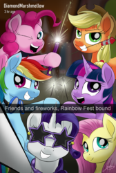 Size: 2016x3008 | Tagged: 4th of july, alicorn, applejack, artist:oinktweetstudios, bottle rocket, earth pony, fireworks, fluttershy, holiday, hoof hold, mane six, mouth hold, pegasus, pinkie pie, pony, rainbow dash, rarity, safe, selfie, sparkler (firework), star glasses, sunglasses, twilight sparkle, unicorn