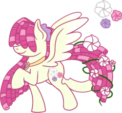 Size: 546x506 | Tagged: safe, artist:musical-medic, oc, oc:morning glory, pegasus, pony, female, flower, flower in tail, hair over eyes, magical lesbian spawn, mare, offspring, parent:fluttershy, parent:tree hugger, parents:flutterhugger, simple background, solo, transparent background
