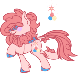 Size: 531x499 | Tagged: safe, artist:musical-medic, oc, oc:sugar rush, hybrid, magical lesbian spawn, offspring, parent:autumn blaze, parent:pinkie pie, simple background, solo, transparent background