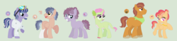 Size: 2268x536 | Tagged: safe, artist:sarabeanadopts, oc, oc only, dracony, earth pony, hybrid, pegasus, pony, unicorn, amputee, base used, beard, blank flank, clothes, colored hooves, dragoncorn, facial hair, female, freckles, goggles, interspecies offspring, jewelry, kerchief, lab coat, lipstick, male, nail polish, necklace, next generation, offspring, parent:applejack, parent:big macintosh, parent:caramel, parent:fluttershy, parent:orion, parent:pinkie pie, parent:pokey pierce, parent:rainbow dash, parent:rarity, parent:soarin', parent:spike, parent:twilight sparkle, parents:carajack, parents:fluttermac, parents:pokeypie, parents:soarindash, parents:sparity, parents:twirion, prosthetic leg, prosthetic limb, prosthetics, scar, scruffy, simple background