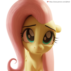 Size: 2048x2048 | Tagged: 3d, 3d model, artist:therealdjthed, blender, cute, cycles, cycles render, female, fluttershy, mare, patreon, patreon logo, pegasus, pony, safe, shyabetes, simple background, solo, transparent background