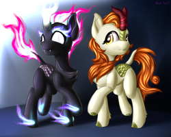 Size: 2500x2000 | Tagged: artist:shido-tara, autumn blaze, blank eyes, cloven hooves, duality, glowing eyes, high res, kirin, mane of fire, nirik, raised hoof, safe, sounds of silence