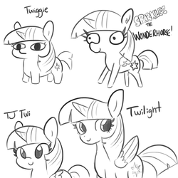 Size: 1152x1152 | Tagged: safe, artist:tjpones, twilight sparkle, alicorn, pony, sparkles! the wonder horse!, female, know the difference, mare, monochrome, multeity, smiling, twiggie, twilight sparkle (alicorn)