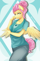 Size: 2161x3309 | Tagged: alternate hairstyle, anthro, artist:gyuumu, fake it 'til you make it, female, fluttershy, mare, pegasus, safe, severeshy, simple background, solo, watermark