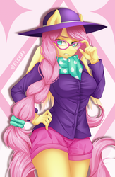 Size: 2160x3308 | Tagged: abstract background, alternate hairstyle, anthro, artist:gyuumu, fake it 'til you make it, female, fluttershy, glasses, hipstershy, mare, pegasus, safe, solo, watermark