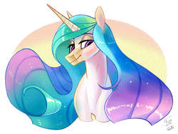 Size: 2150x1620 | Tagged: abstract background, alicorn, artist:eeviart, bust, female, lidded eyes, mare, pony, princess celestia, safe, solo