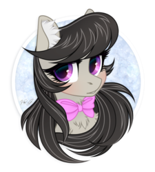 Size: 1350x1500 | Tagged: safe, artist:vird-gi, octavia melody, earth pony, pony, blushing, bow, bust, chest fluff, cute, ear fluff, female, looking at you, mare, neck bow, portrait, solo, tavibetes