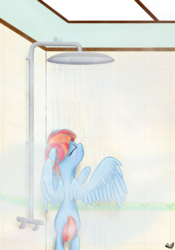 Size: 2500x3580 | Tagged: artist:alicorn-without-horn, bathing, bipedal, bipedal leaning, eyes closed, female, leaning, mare, parental glideance, pegasus, pony, safe, shower, solo, windy whistles